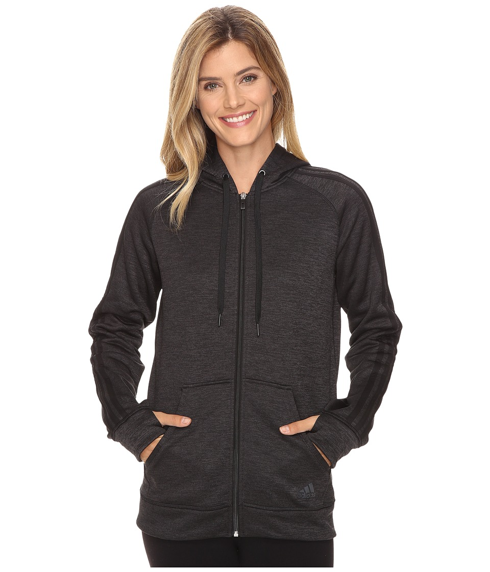 adidas - Team Issue Fleece 3 Stripes Full Zip Hoodie (Black Heather/Black) Women's Sweatshirt
