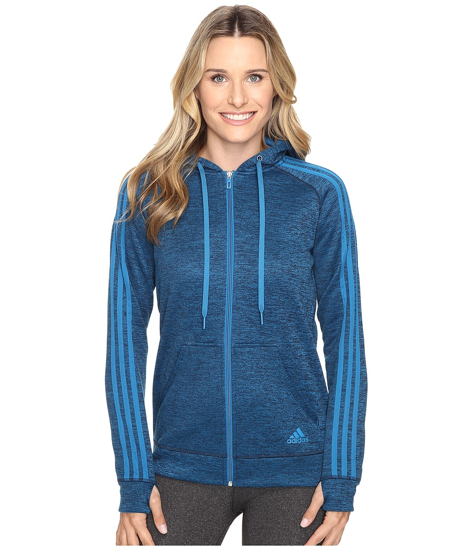 adidas - Team Issue Fleece 3 Stripes Full Zip Hoodie (Unity Blue Heather/Unity Blue) Women's Sweatshirt