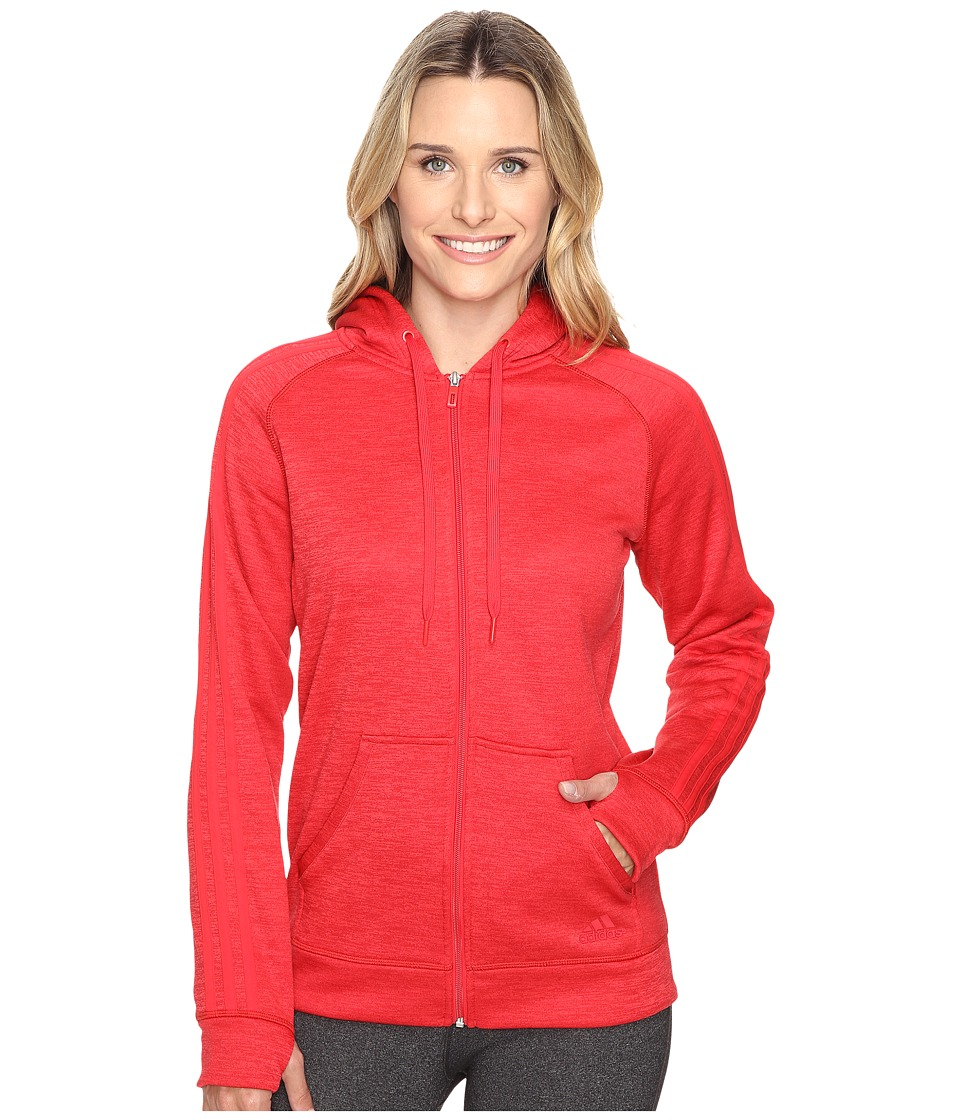 adidas - Team Issue Fleece 3 Stripes Full Zip Hoodie (Ray Red Heather/Ray Red) Women's Sweatshirt