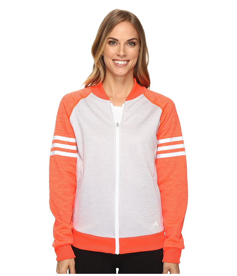 adidas - Team Issue Fleece Baseball Jacket (White Heather/Solar Red Heather/White) Women's Coat
