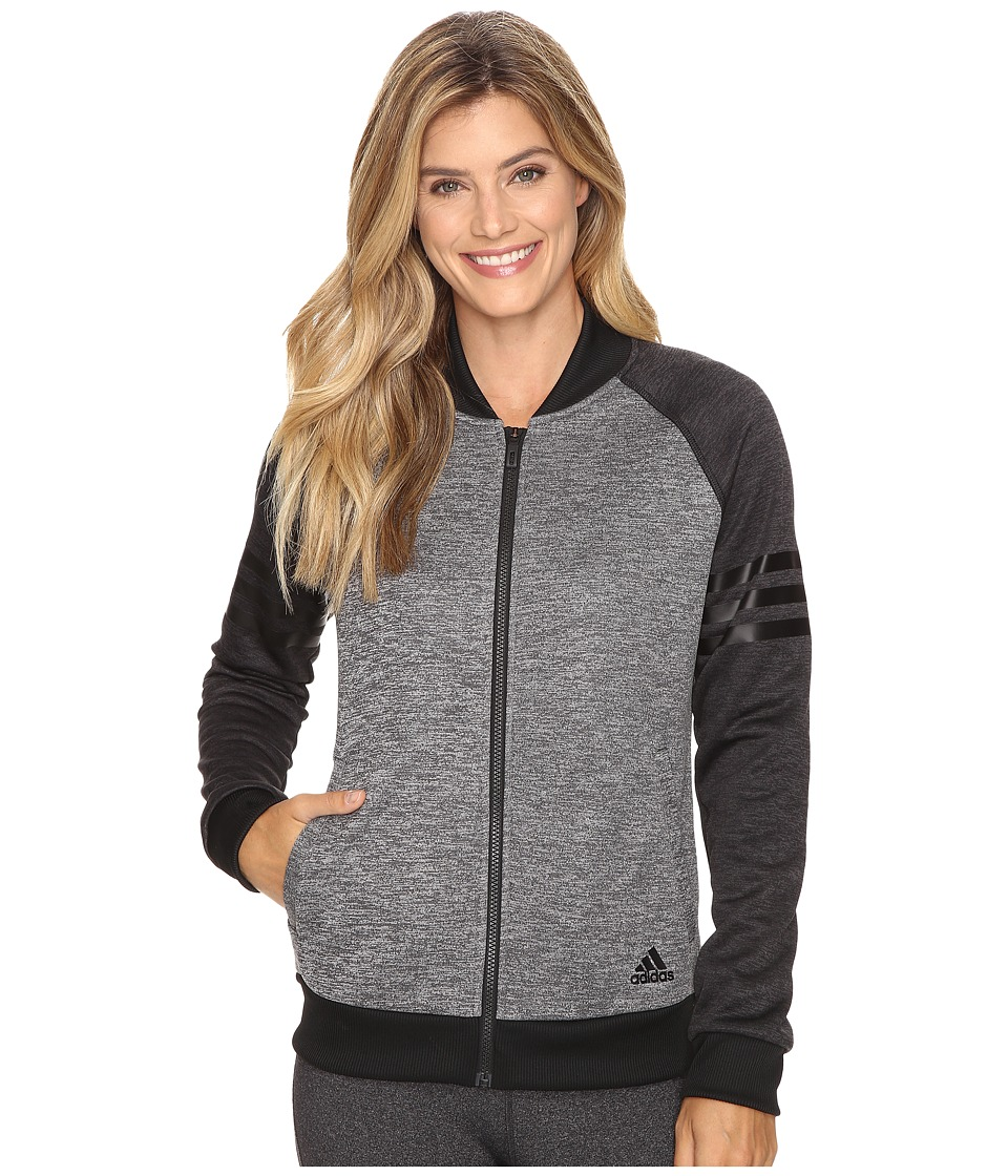 adidas - Team Issue Fleece Baseball Jacket (Dark Grey Heather/Utility Black Heather/Black) Women's Coat