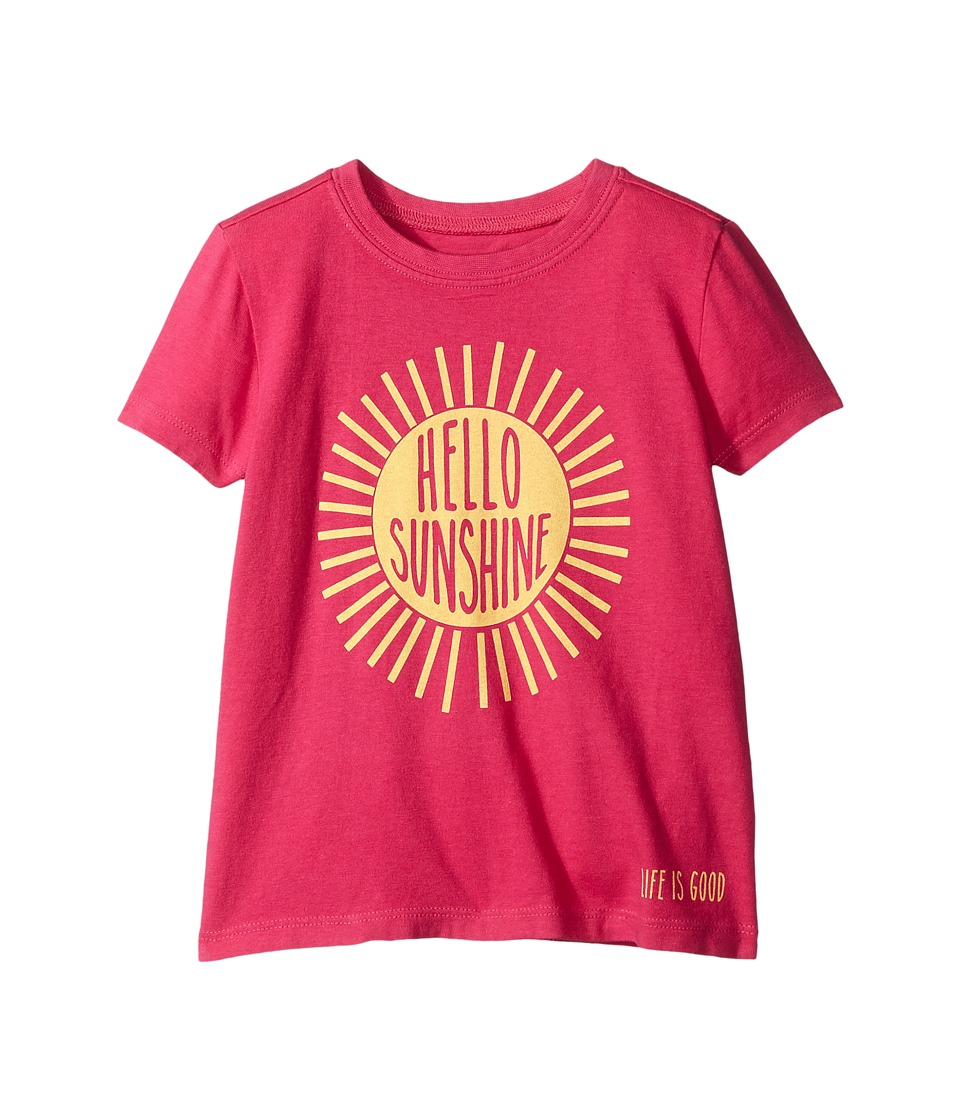 Life is good Kids - Hello Sunshine Crusher Tee (Toddler) (Bold Pink) Girl's T Shirt