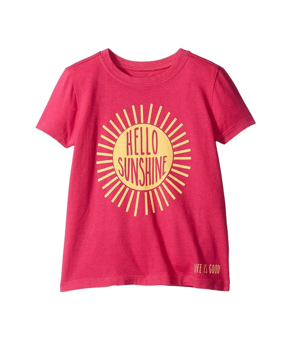 Life is Good Kids - Hello Sunshine Crushertm Tee (Toddler) (Bold Pink) Girl's T Shirt