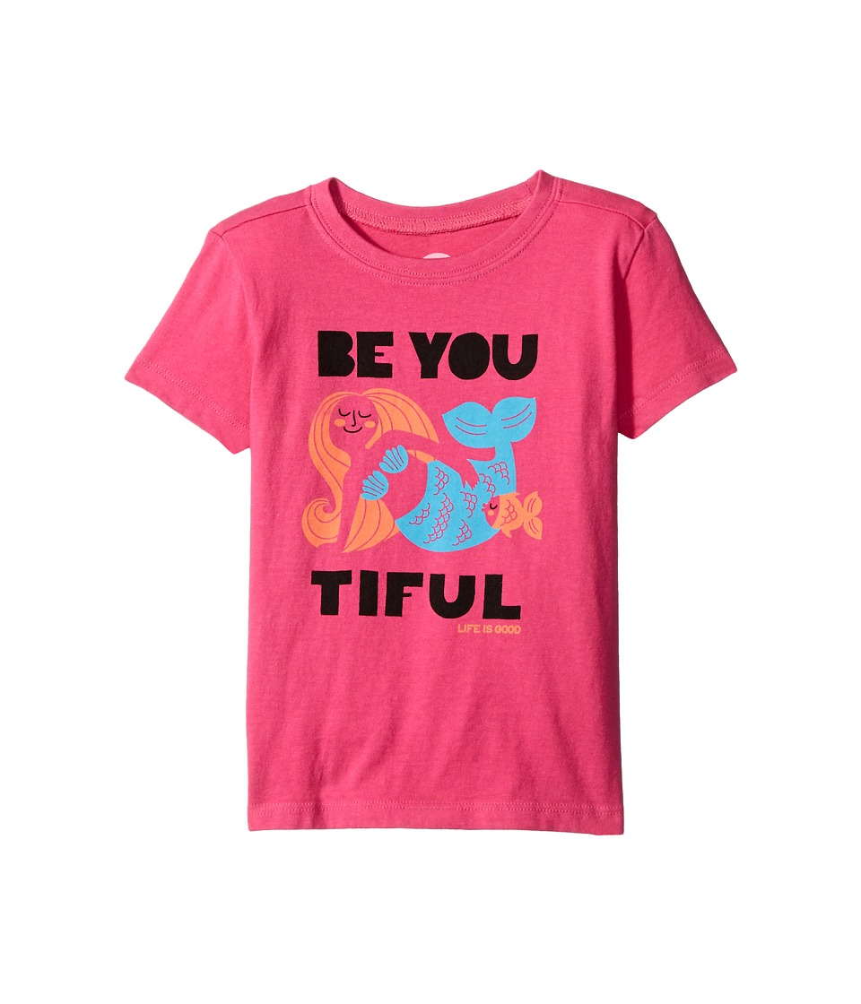Life is good Kids - Be You Mermaid Crusher Tee (Toddler) (Bold Pink) Girl's T Shirt
