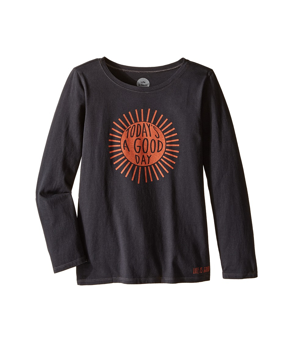 Life is good Kids - Good Day Sunshine Long Sleeve Tee (Little Kids/Big Kids) (Night Black) Girl's Long Sleeve Pullover