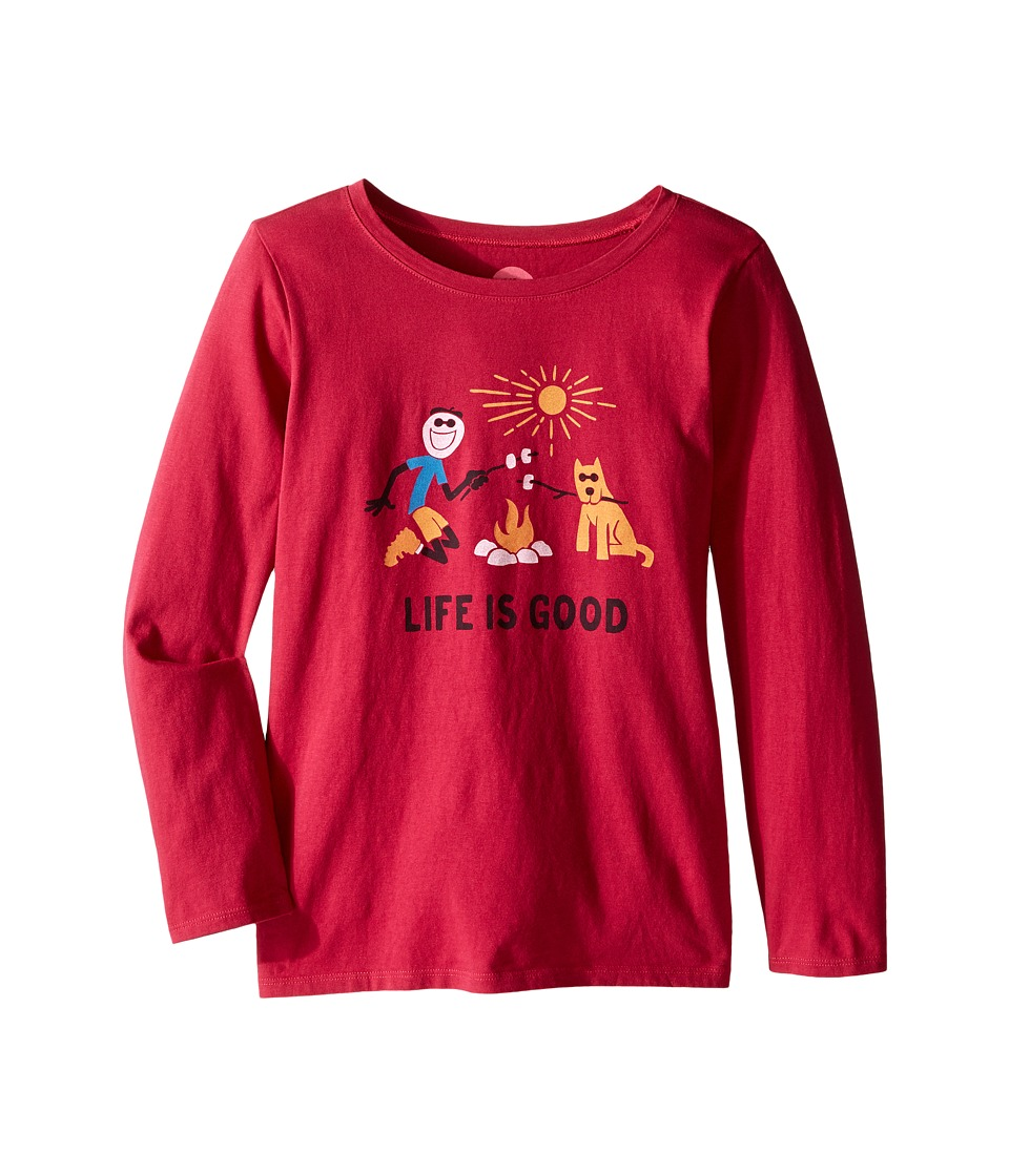 Life is good Kids - Elemental Camp Fire Long Sleeve Tee (Little Kids/Big Kids) (Rose Berry) Girl's Long Sleeve Pullover