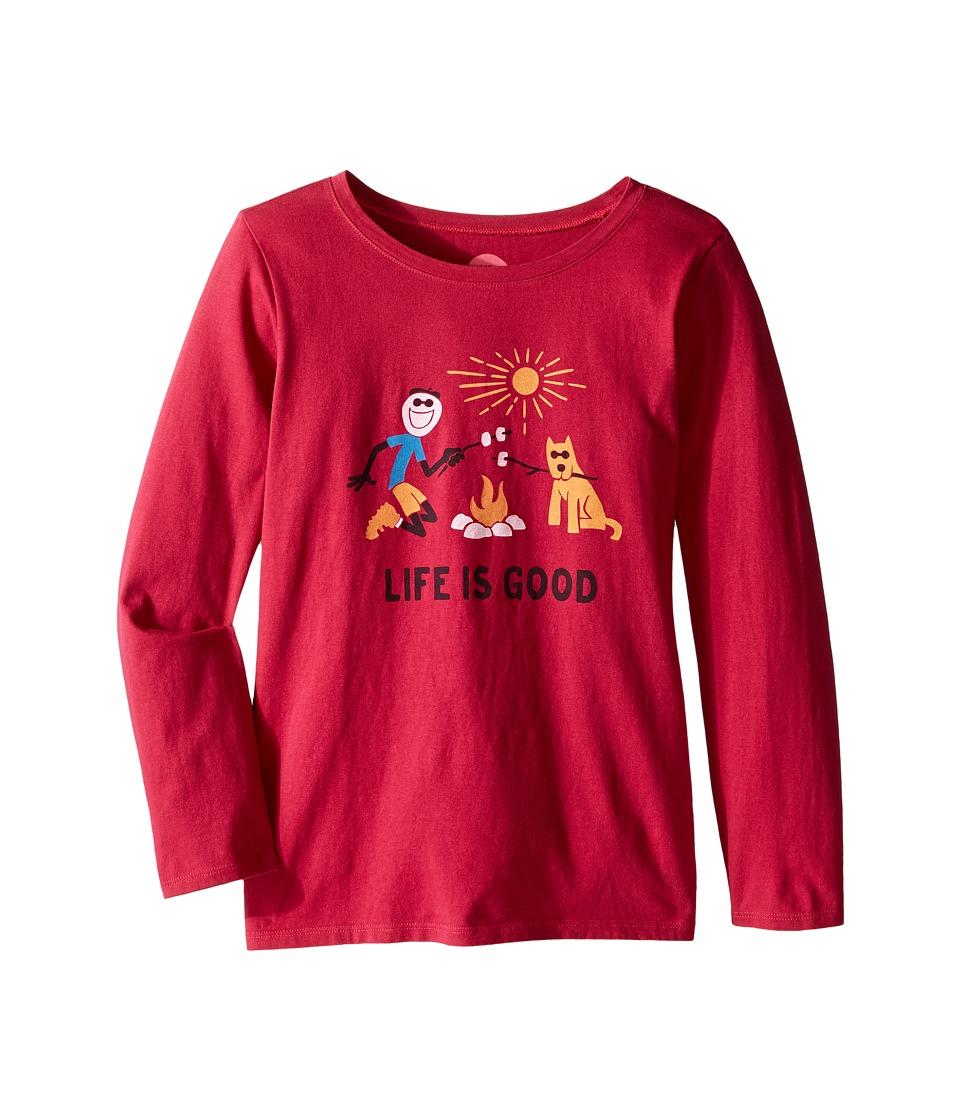 Life is Good Kids - Elemental Camp Fire Long Sleeve Tee (Little Kids/Big Kids) (Rose Berry) Girl's Long Sleeve Pullover