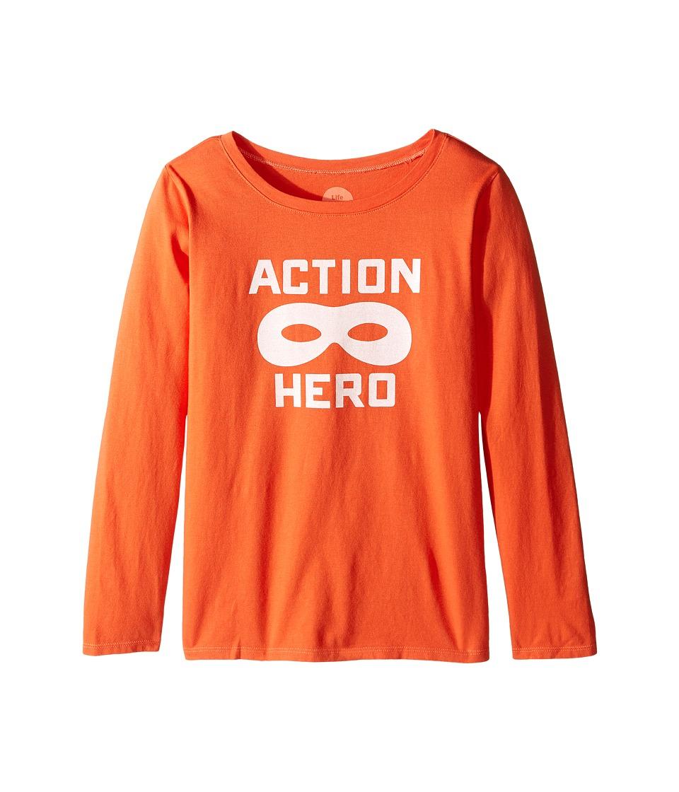 Life is good Kids - Action Hero Mask Long Sleeve Tee (Little Kids/Big Kids) (Coral Orange) Girl's Long Sleeve Pullover