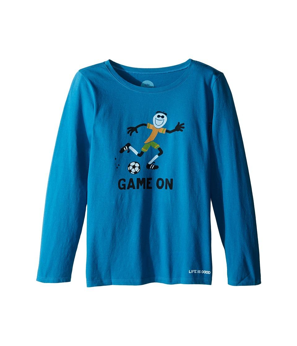 Life is good Kids - Elemental Game On Soccer Long Sleeve Tee (Little Kids/Big Kids) (Denim Blue) Girl's Long Sleeve Pullover