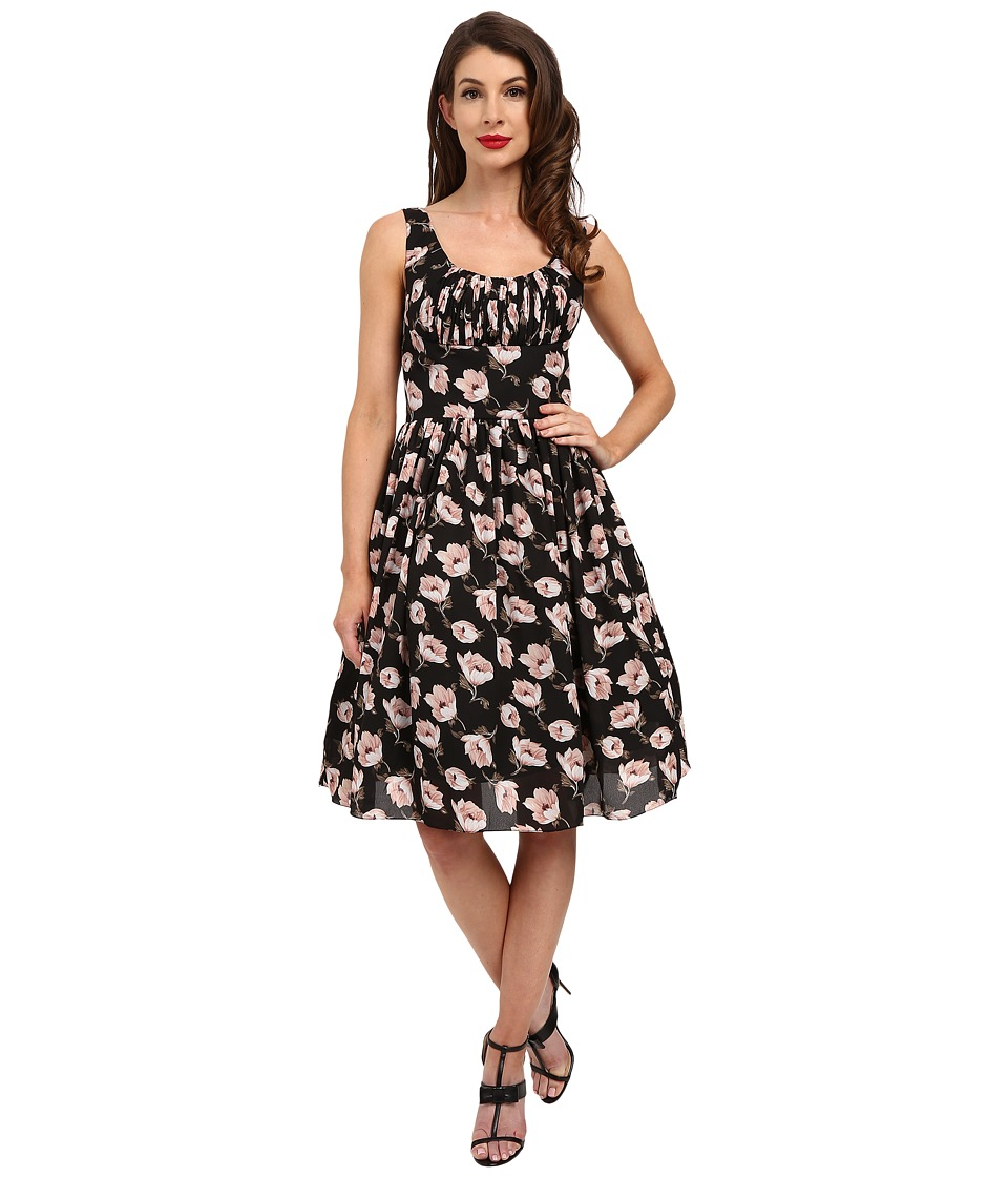 Unique Vintage - Barcelona Gathered Fit Flare Dress (Black Floral) Women's Dress