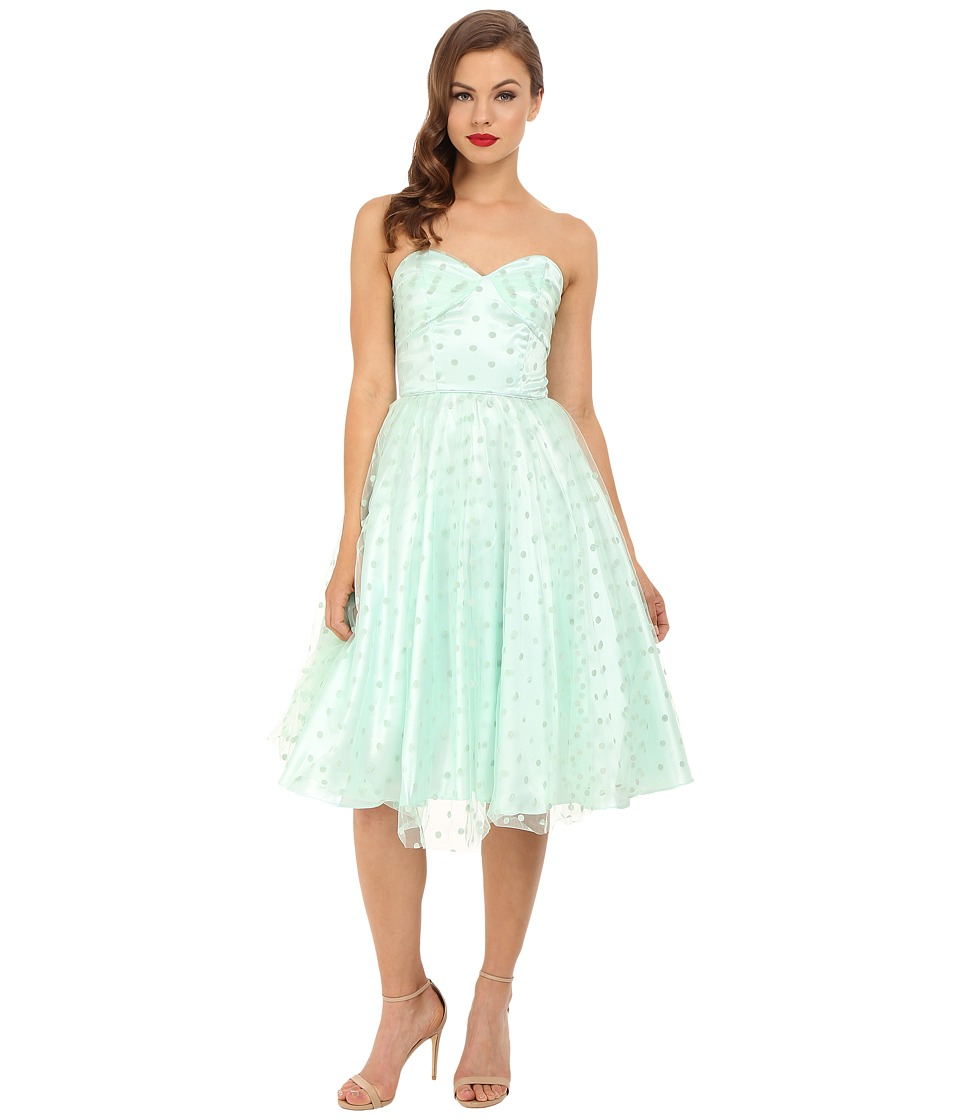 Unique Vintage - Swiss Dot Dandridge Strapless Dress (Mint) Women's Dress