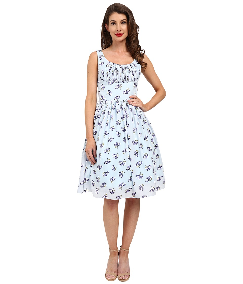 Unique Vintage - Barcelona Gathered Fit Flare Dress (Blue Floral) Women's Dress