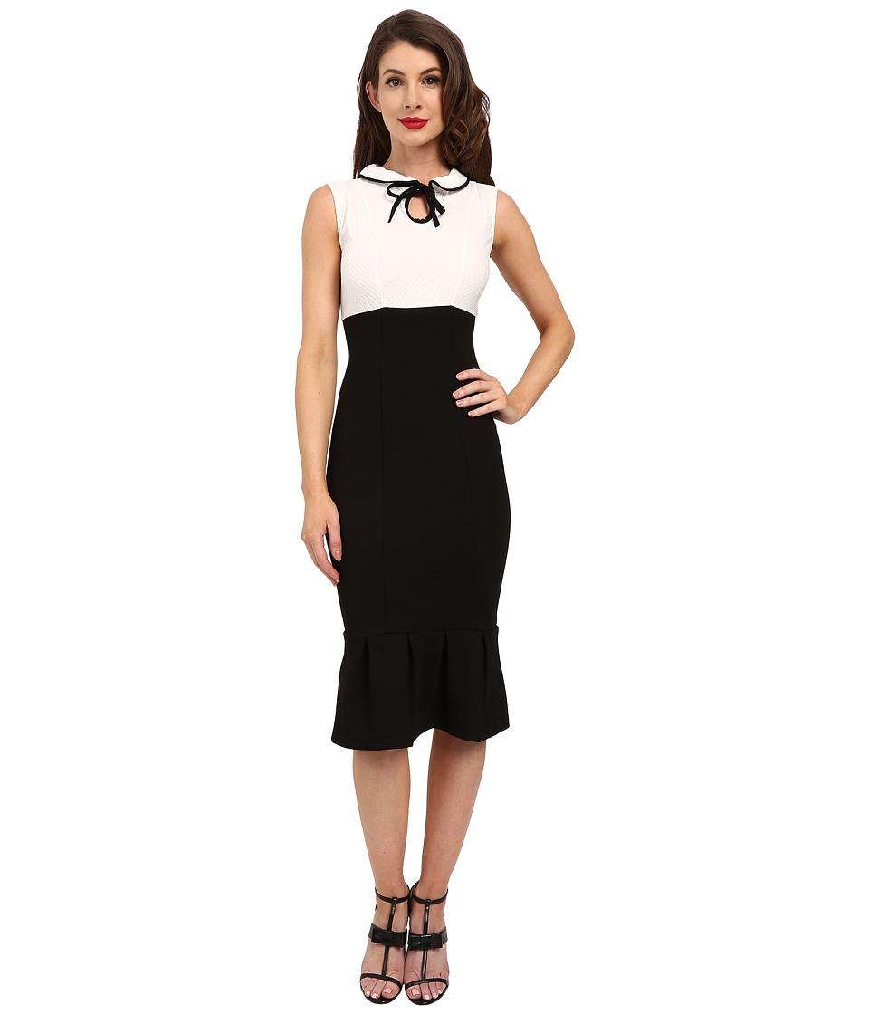 Unique Vintage Fitted Keyhole Bodycon Dress (Black/White) Women