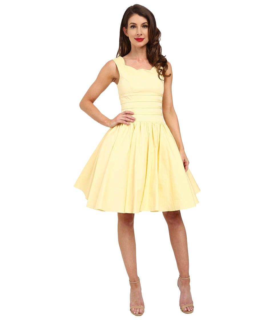Unique Vintage - Roman Holiday Brushed Cotton Swing Dress (Yellow) Women's Dress plus size,  plus size fashion plus size appare