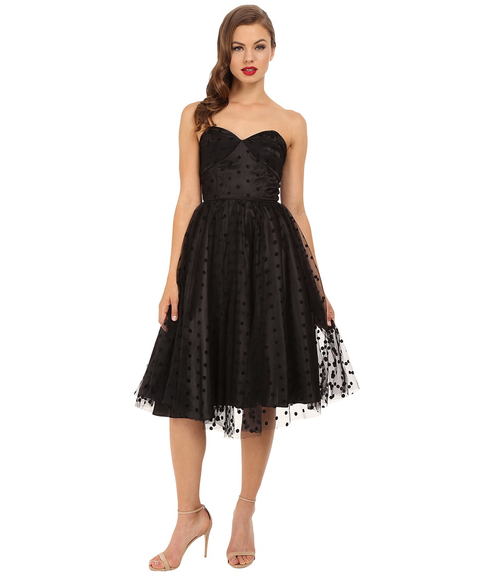 Unique Vintage Swiss Dot Dandridge Strapless Dress (Black) Women