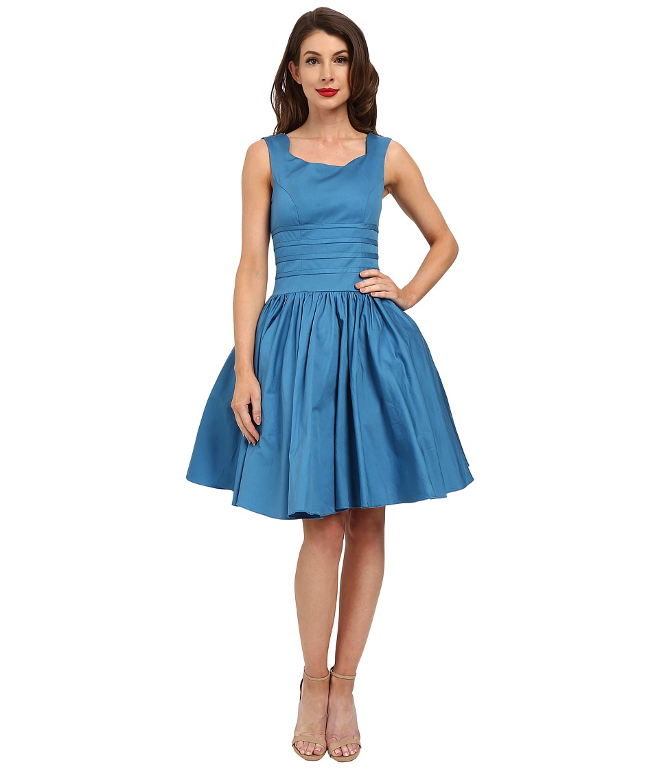 Unique Vintage - Roman Holiday Brushed Cotton Swing Dress (Teal Blue) Women's Dress