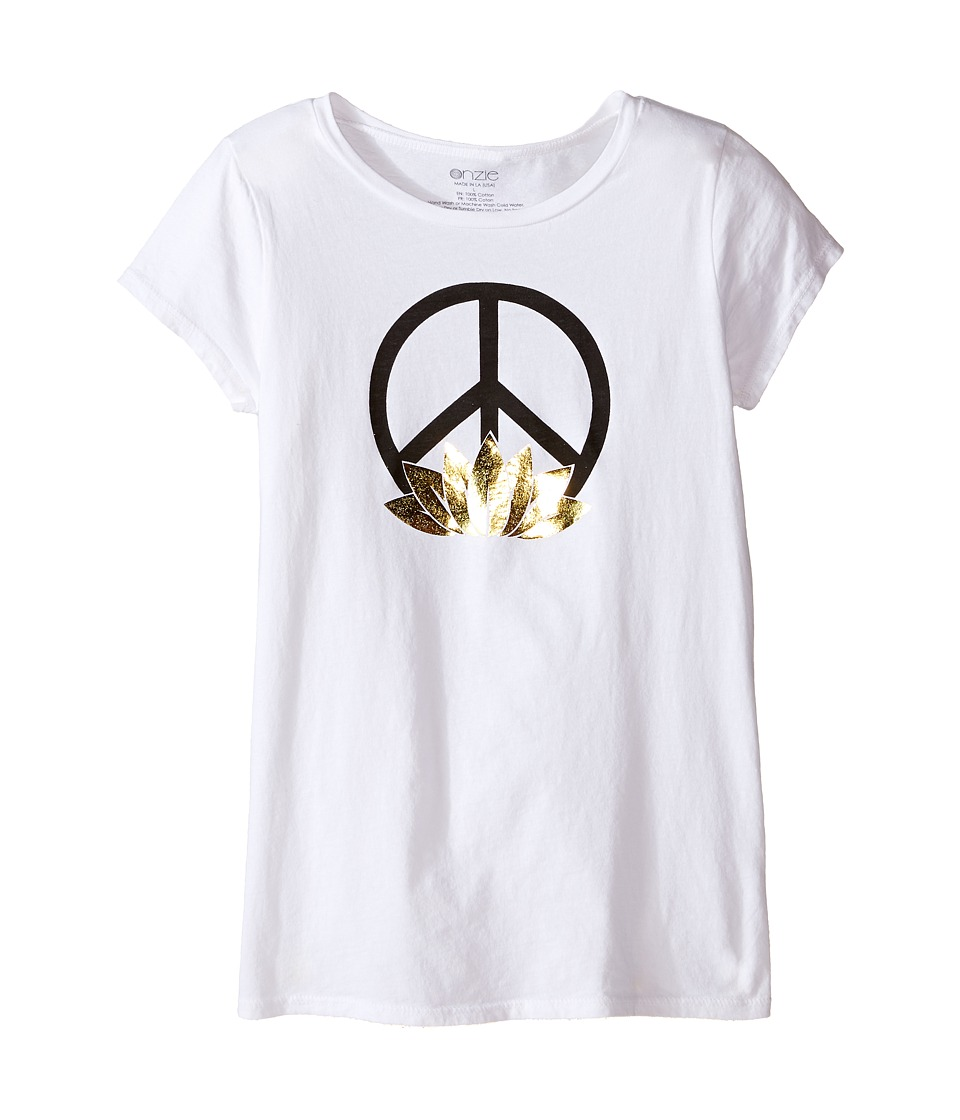 Onzie Kids - Cap Sleeve Top (Little Kids/Big Kids) (White Peace) Girl's T Shirt