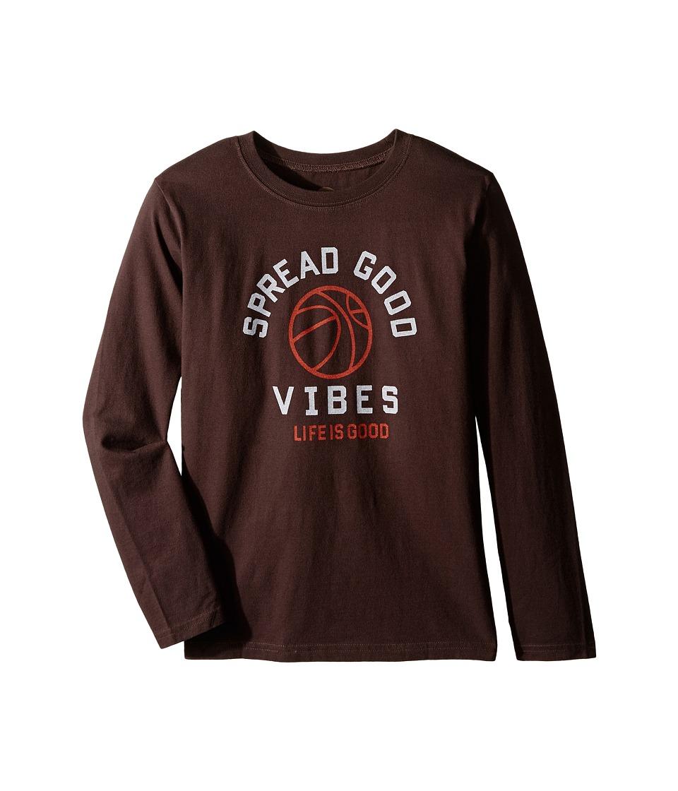 Life is good Kids - Good Vibes Basketball Long Sleeve Tee (Little Kids/Big Kids) (Darkest Brown) Boy's Long Sleeve Pullover