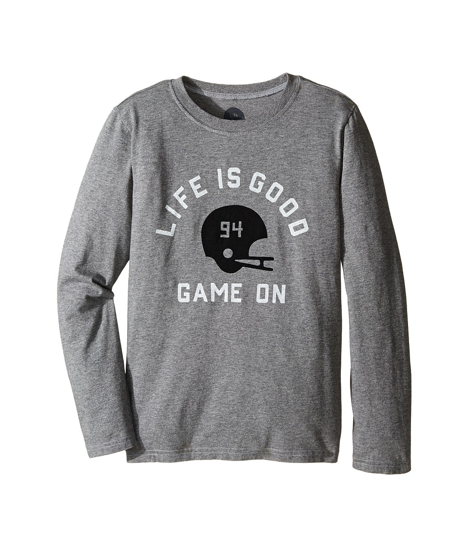 Life is good Kids - Game On Helmet Long Sleeve Tee (Little Kids/Big Kids) (Heather Gray) Boy's Long Sleeve Pullover
