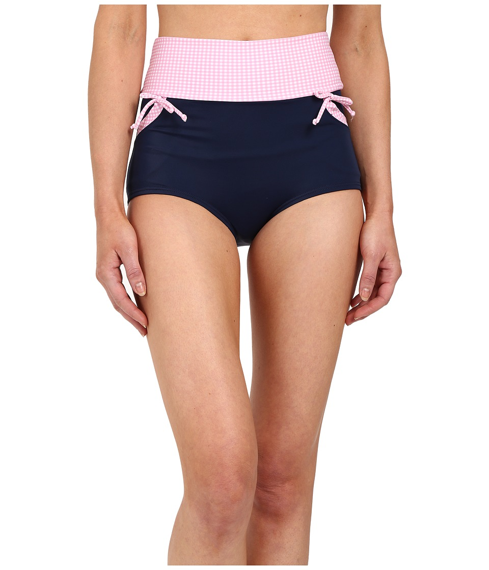 Unique Vintage - Gilda High Waisted Swim Bottoms (Navy/Pink) Women's Swimwear
