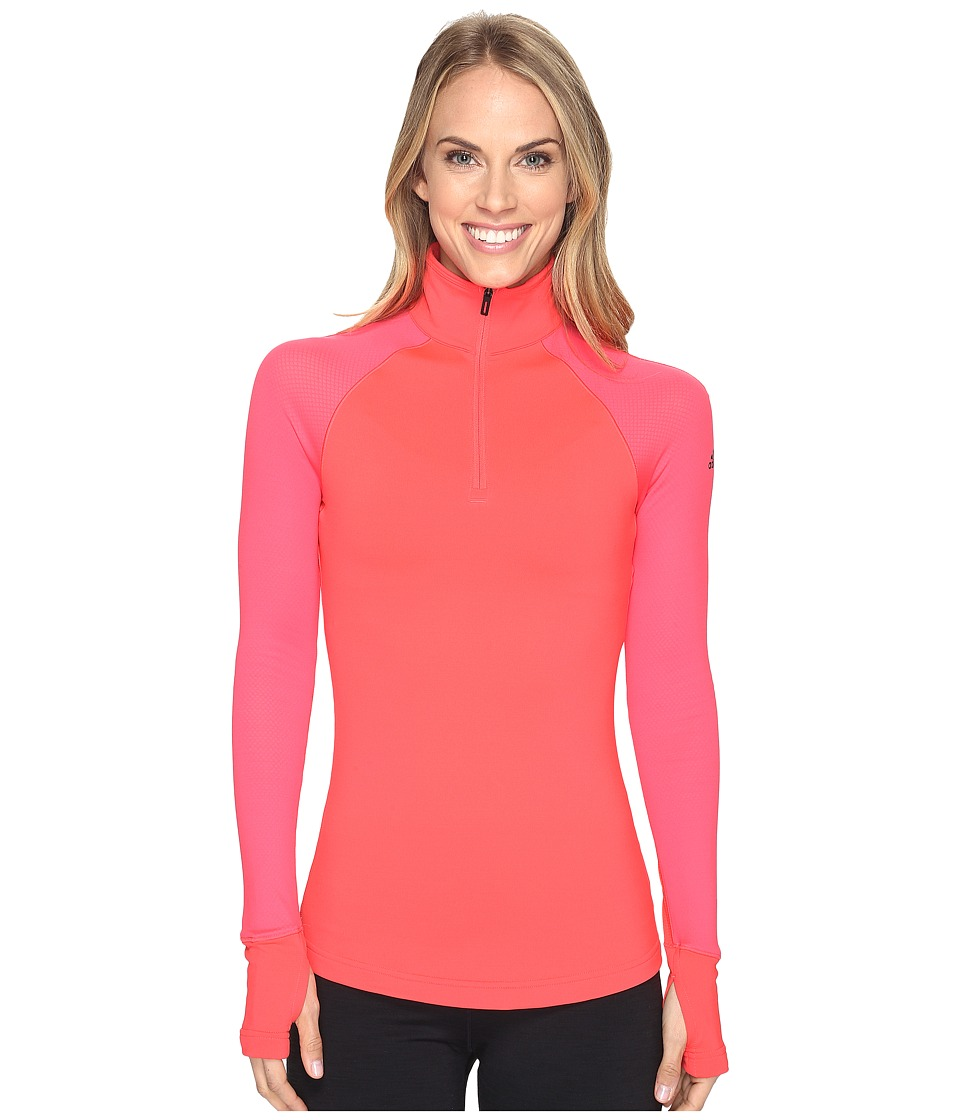 adidas - Techfit Cold Weather Half Zip (Shock Red/Sun Glow) Women's Long Sleeve Pullover