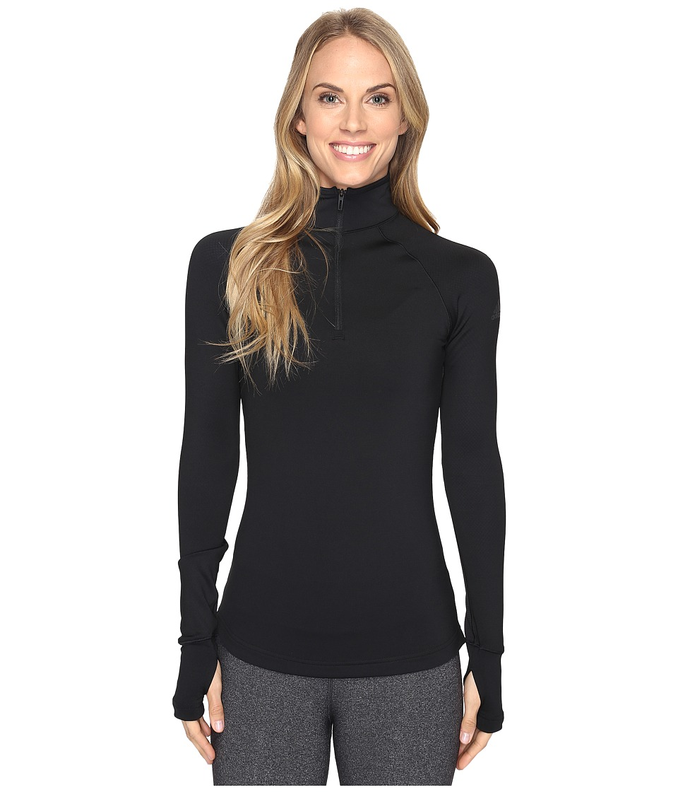 adidas - Techfit Cold Weather Half Zip (Black/Utility Blue) Women's Long Sleeve Pullover