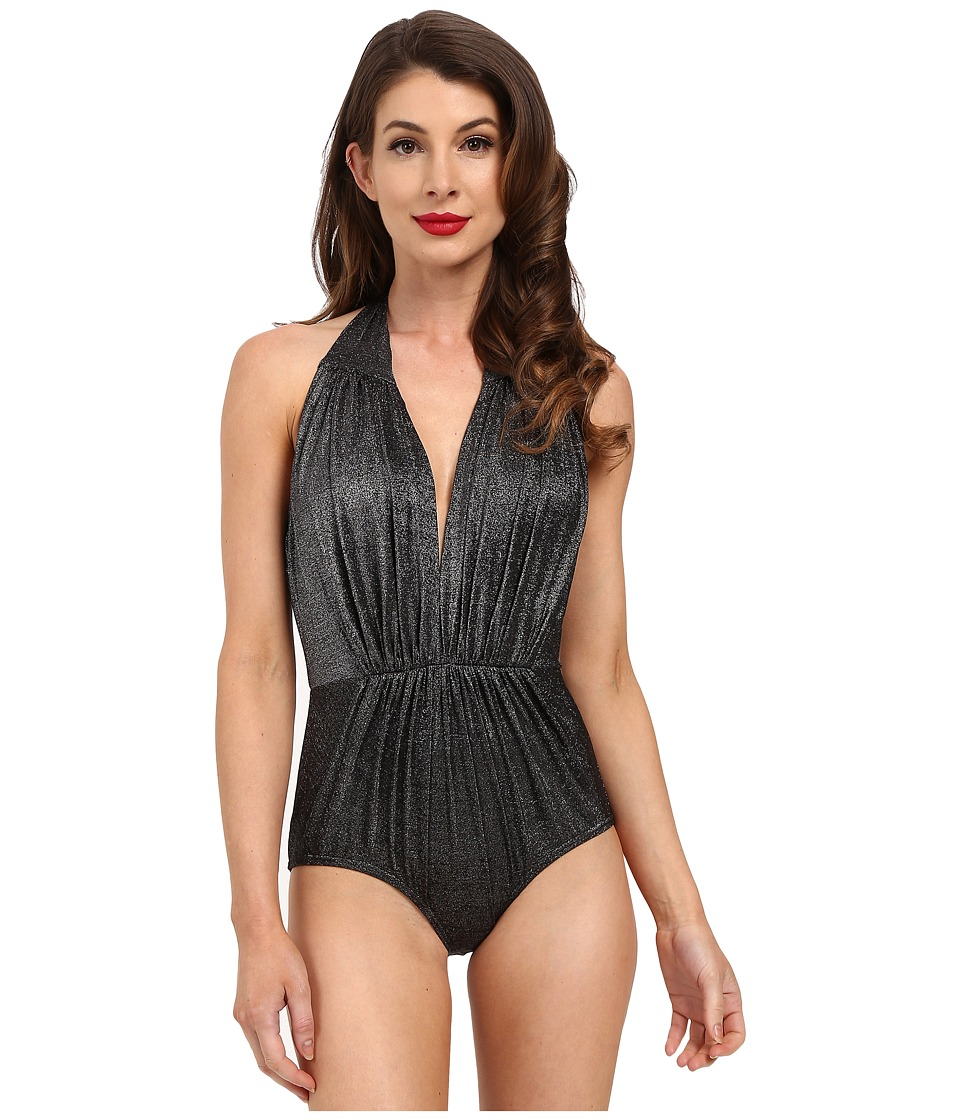 Unique Vintage - Derek One-Piece Swimsuit (Black Glimmer) Women's Swimsuits One Piece
