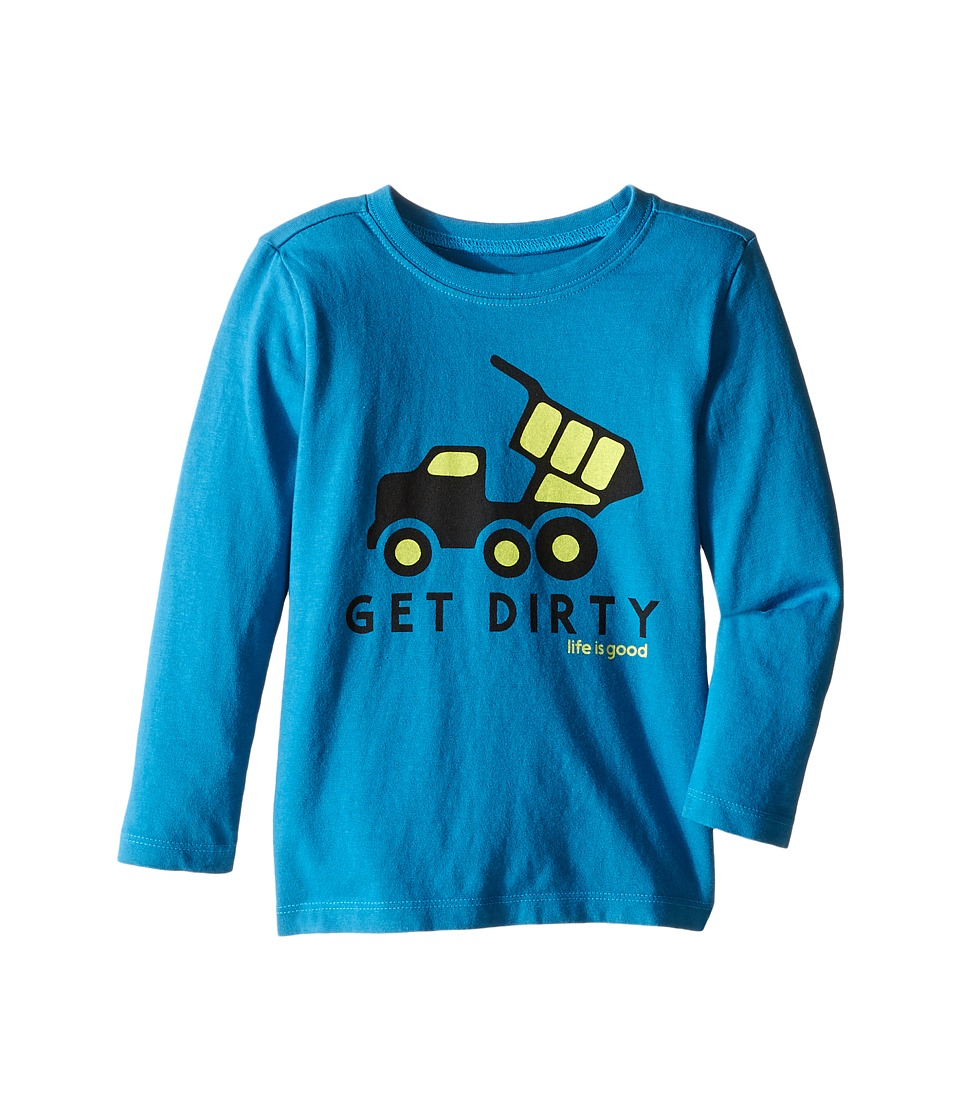 Life is good Kids - Get Dirty Truck Long Sleeve Tee (Toddler) (Denim Blue) Boy's Long Sleeve Pullover