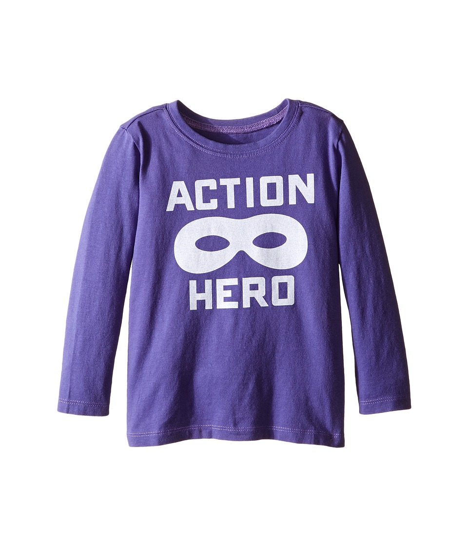 Life is Good Kids - Action Hero Mask Long Sleeve Tee (Toddler) (Blue Violet) Boy's Long Sleeve Pullover
