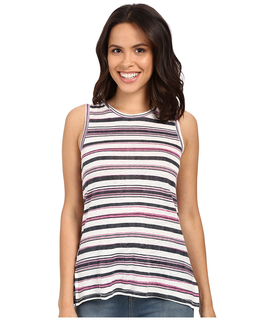 Michael Stars Striped Linen Knit Front To Back Tank Top (Nocturnal) Women