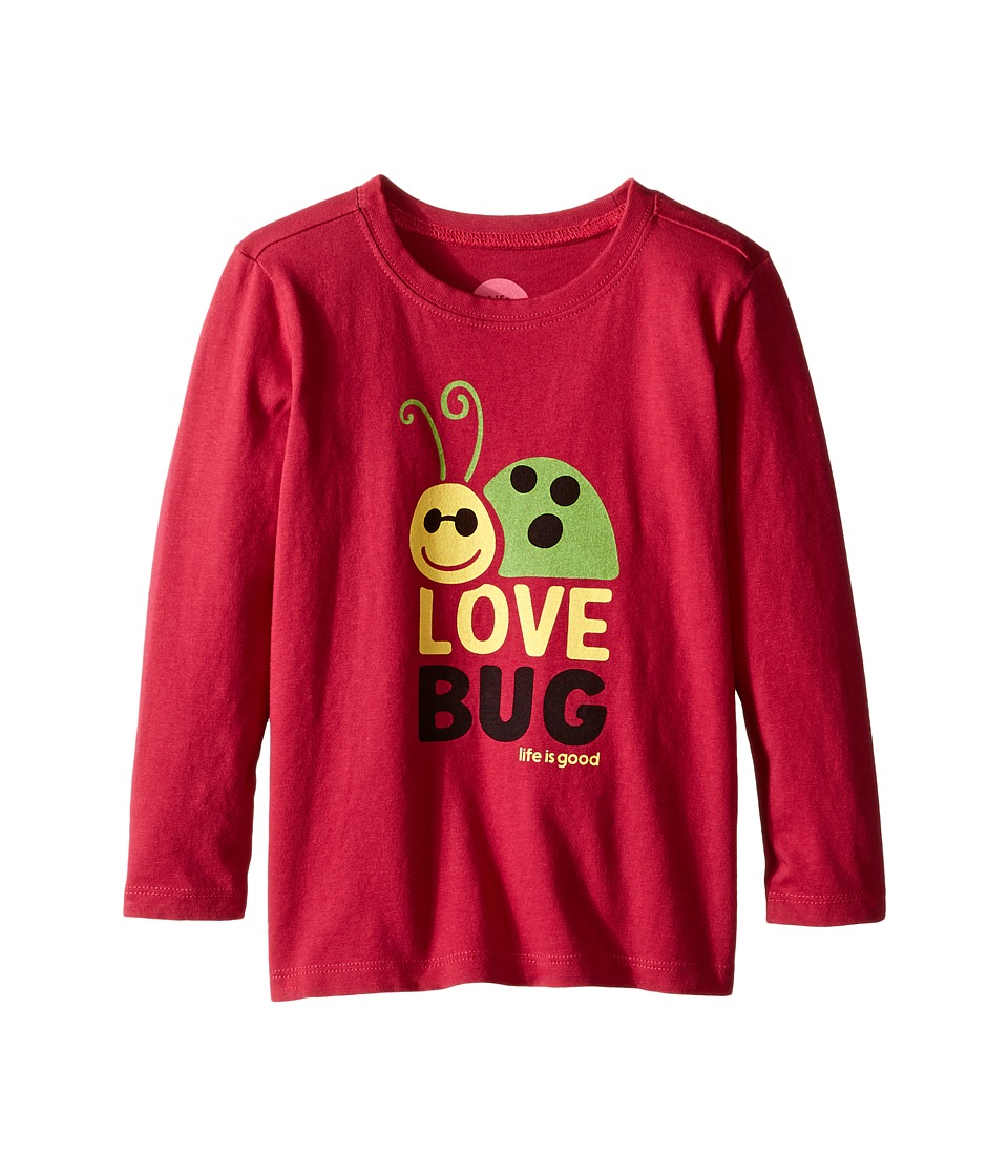 Life is Good Kids - Elemental Love Bug Long Sleeve Tee (Toddler) (Rose Berry) Girl's Long Sleeve Pullover