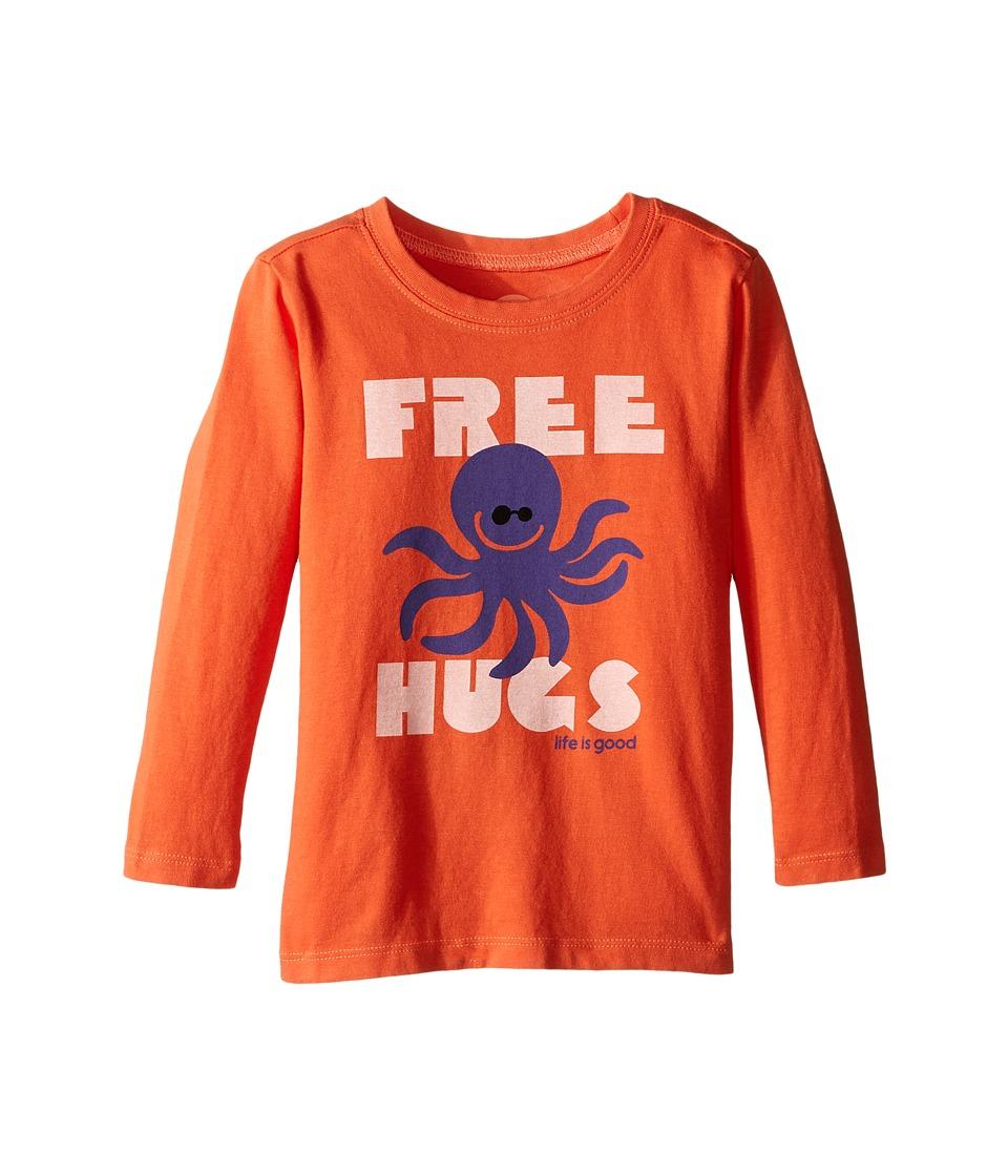 Life is good Kids - Octopus Hugs Long Sleeve Tee (Toddler) (Coral Orange) Boy's Long Sleeve Pullover