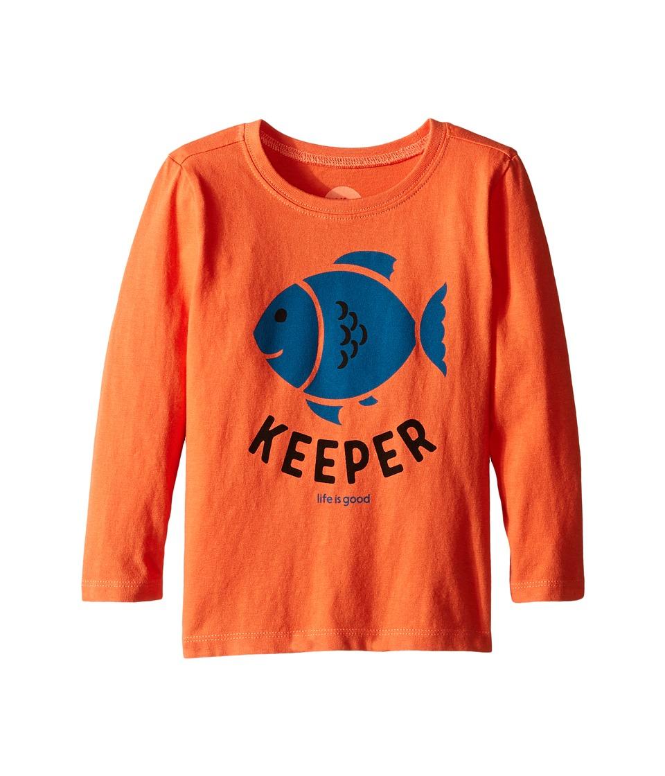 Life is Good Kids - Elemental Keeper Long Sleeve Tee (Toddler) (Coral Orange) Kid's Long Sleeve Pullover