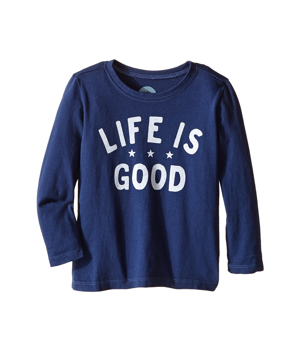 Life is good Kids - Three Star Life is Good Long Sleeve Tee (Toddler) (Darkest Blue) Kid's Long Sleeve Pullover