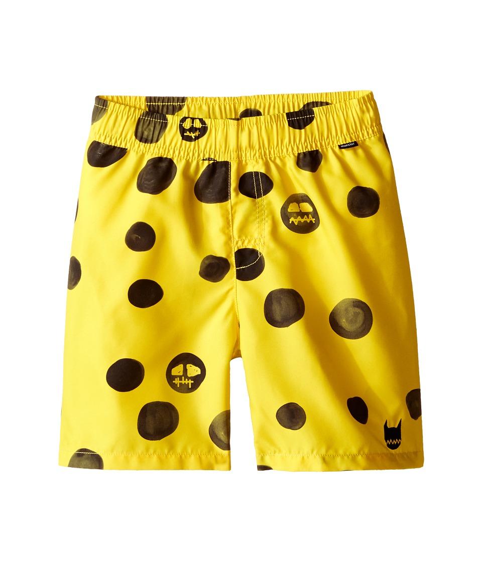 Munster Kids - Skull Dot Boardshorts (Toddler/Little Kids) (Yellow) Boy's Swimwear
