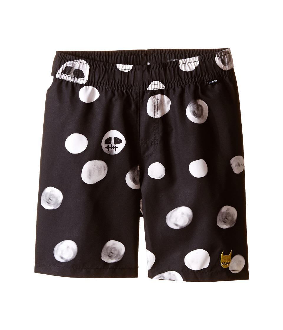 Munster Kids - Skull Dot Boardshorts (Toddler/Little Kids/Big Kids) (Black) Boy's Swimwear