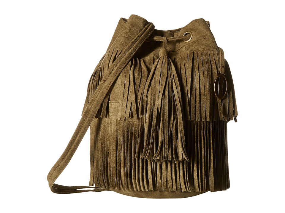 CARLOS by Carlos Santana - Frances Suede Drawstring (Olive) Cross Body Handbags