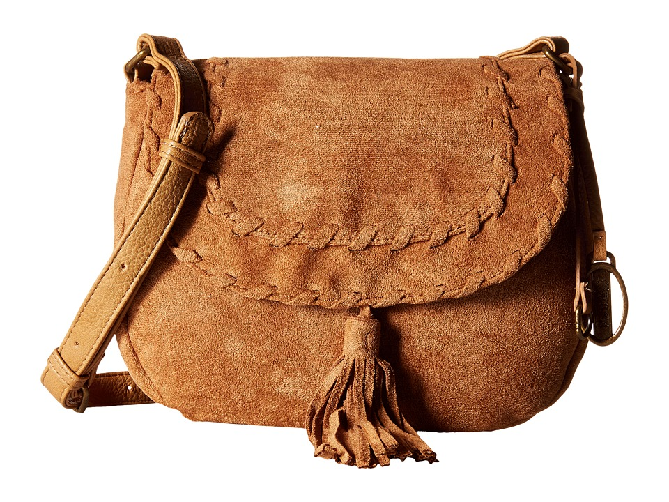 CARLOS by Carlos Santana - Frances Suede Saddle Bag (Camel) Cross Body Handbags