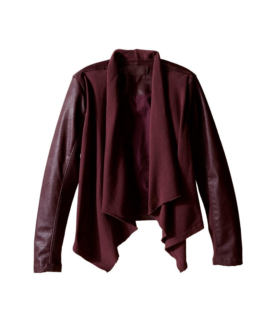 Blank NYC Kids - Burgundy Drape Front Jacket with Vegan Leather Sleeves in Oxblood (Big Kids) (Oxblood) Girl's Coat