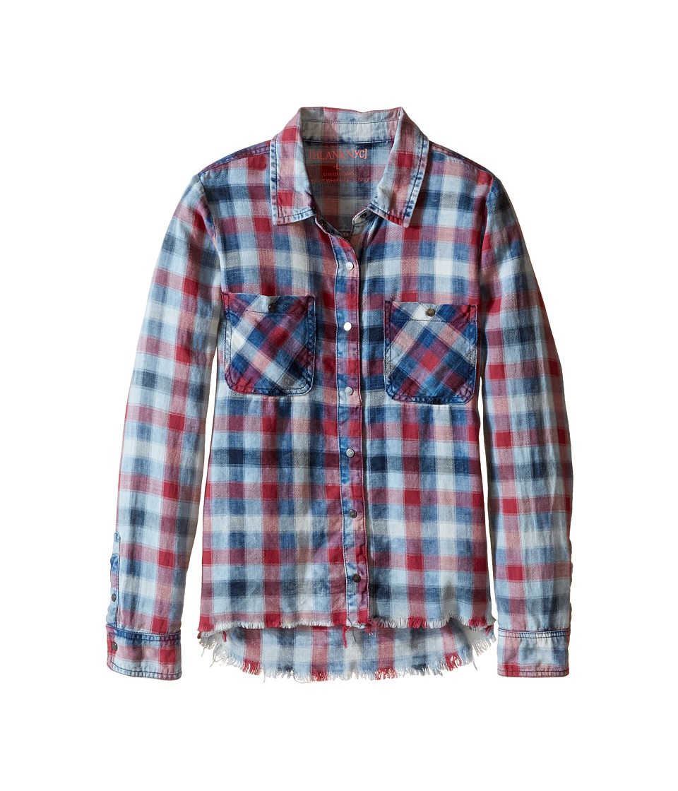 Blank NYC Kids - Plaid Shirt with Frayed Bottom in Twitterpated (Big Kids) (Twitterpated) Girl's Clothing