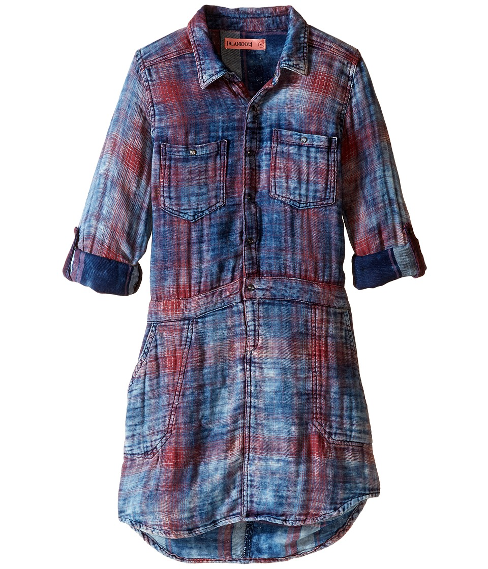 Blank NYC Kids - Plaid Shirtdress in Jitney (Big Kids) (Jitney) Girl's Dress