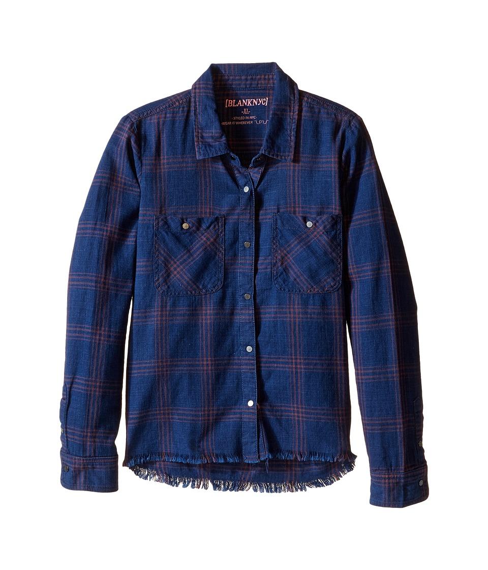 Blank NYC Kids - Plaid Shirt in Blue Ribbon (Big Kids) (Blue Ribbon) Girl's Clothing