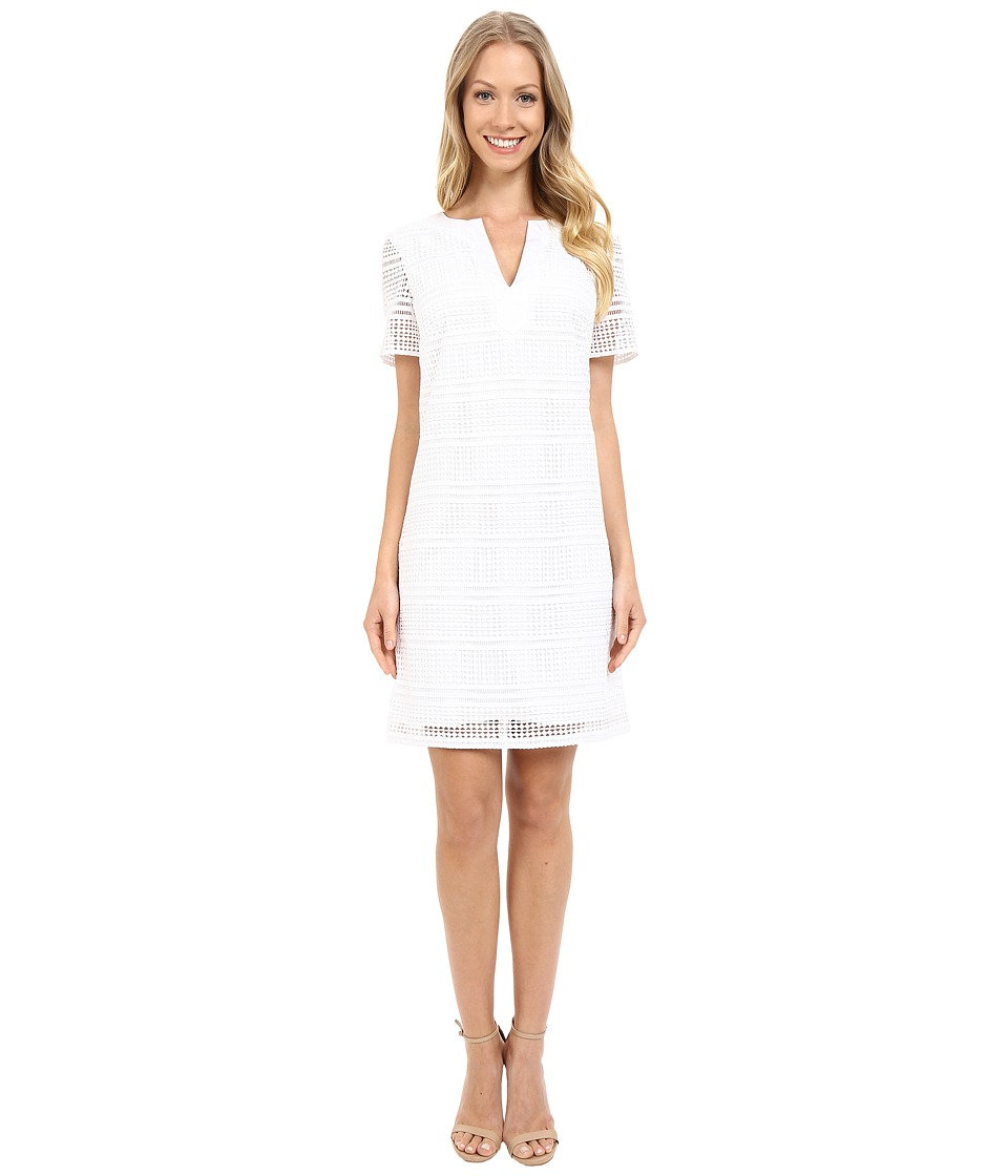 Adrianna Papell - Geo Lace Split-Neck Shift Dress (White) Women's Dress