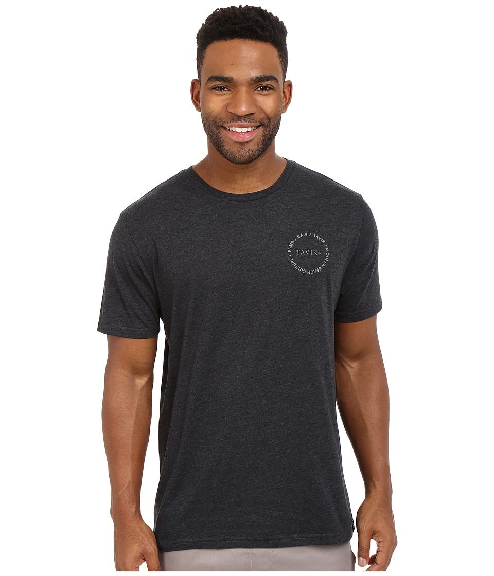 Tavik - Crew Short Sleeve Printed Tee (Heather Charcoal) Men's Short Sleeve Pullover