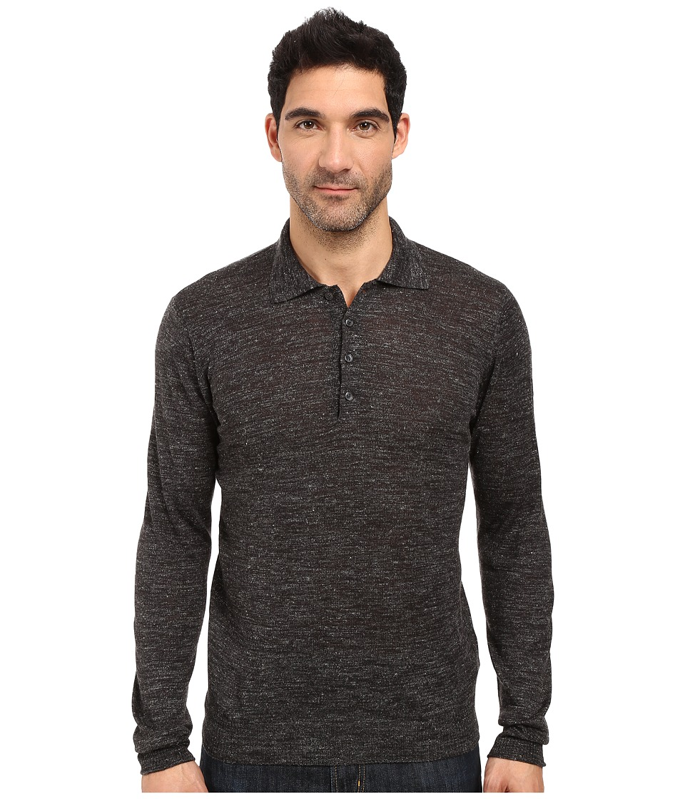 7 For All Mankind Long Sleeve Polo Sweater (Dark Charcoal) Men