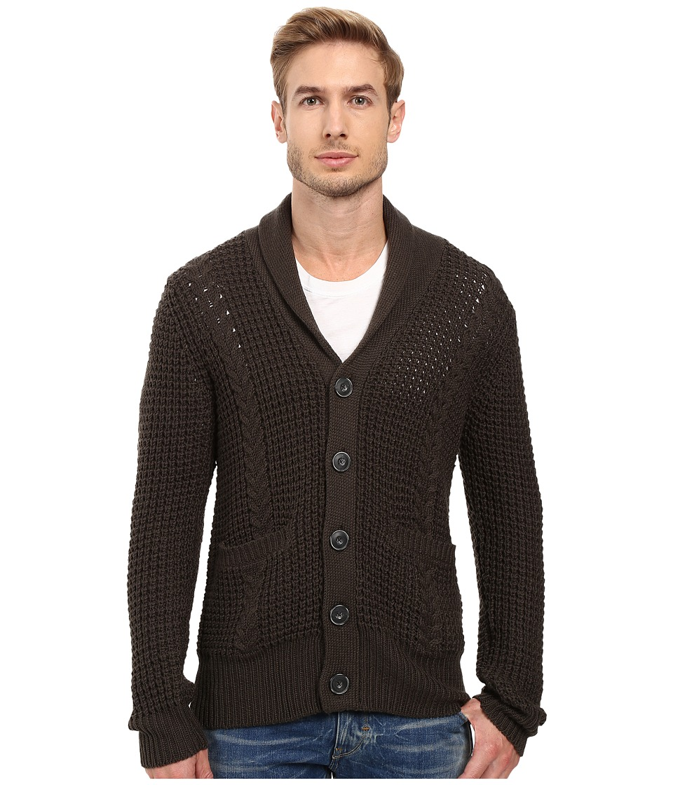 7 For All Mankind - Cable Shawl Cardigan (Olive) Men's Sweater