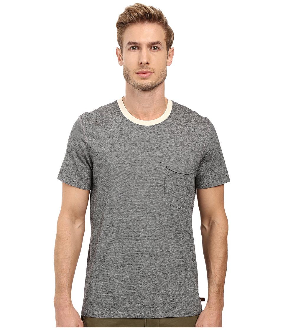 7 For All Mankind - Short Sleeve Stripe Ringer Tee (Black Ecru Mini Stripe) Men's T Shirt