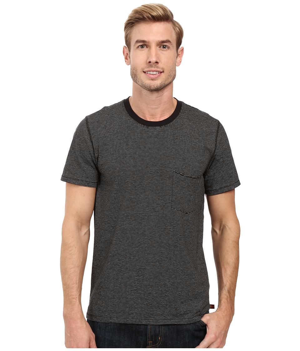 7 For All Mankind - Short Sleeve Stripe Ringer Tee (Black Ecru Feeder Stripe) Men's T Shirt