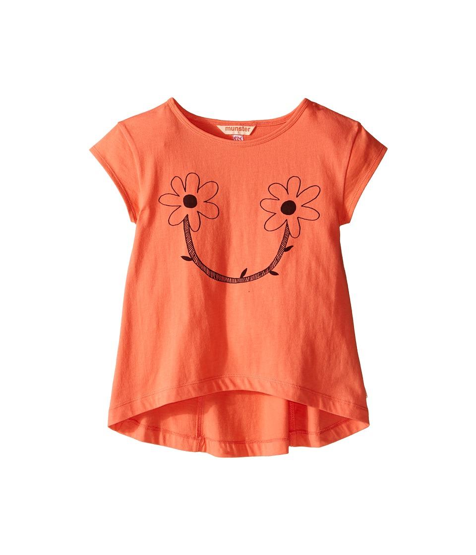 Munster Kids - Flower Smile Fashion Top (Toddler/Little Kids) (Coral) Girl's Short Sleeve Pullover