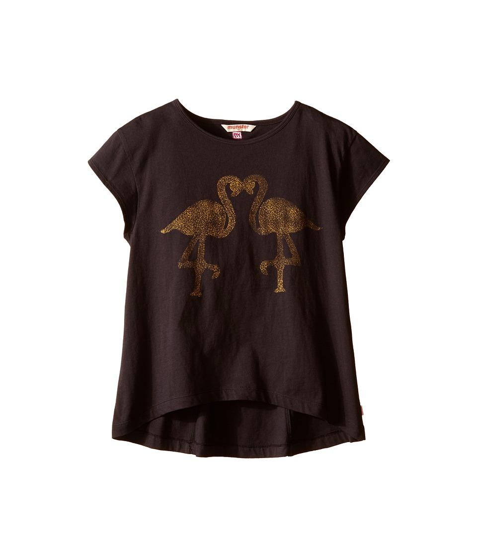 Munster Kids - Love Birds Fashion Top (Toddler/Little Kids/Big Kids) (Vintage Black) Girl's Short Sleeve Pullover